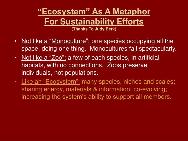 """""""Ecosystem"""" As A Metaphor"""