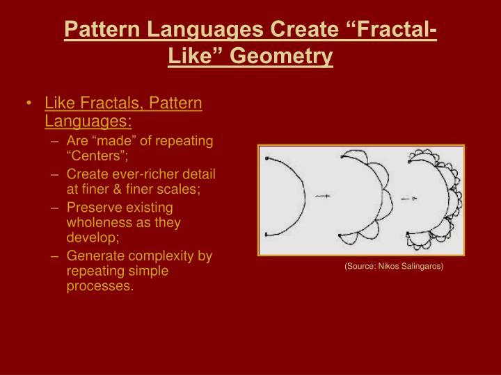 "Pattern Languages Create ""Fractal-Like"" Geometry"