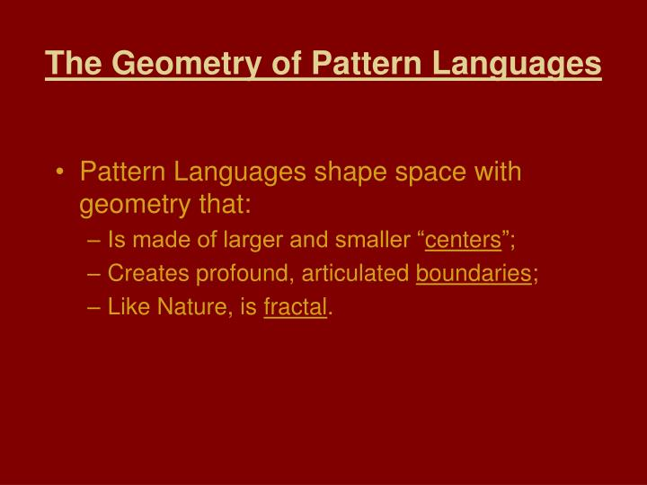 The Geometry of Pattern Languages