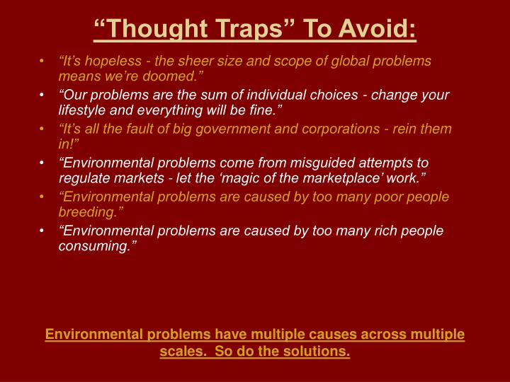 """""""Thought Traps"""" To Avoid:"""
