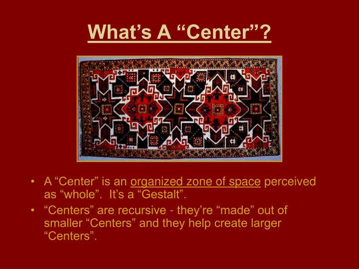 """What's A """"Center""""?"""
