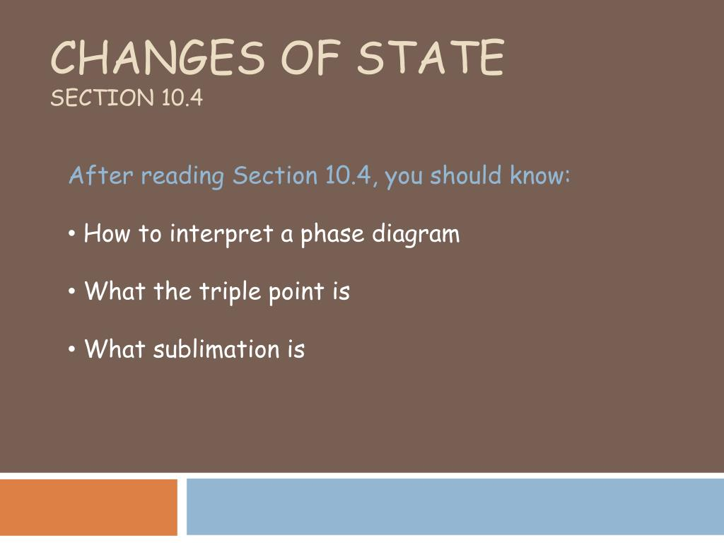 changes of state section 10 4