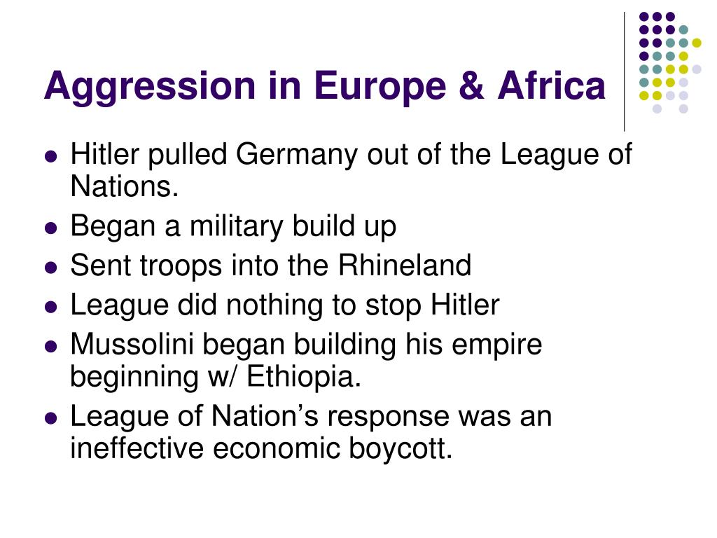 Aggression in Europe & Africa