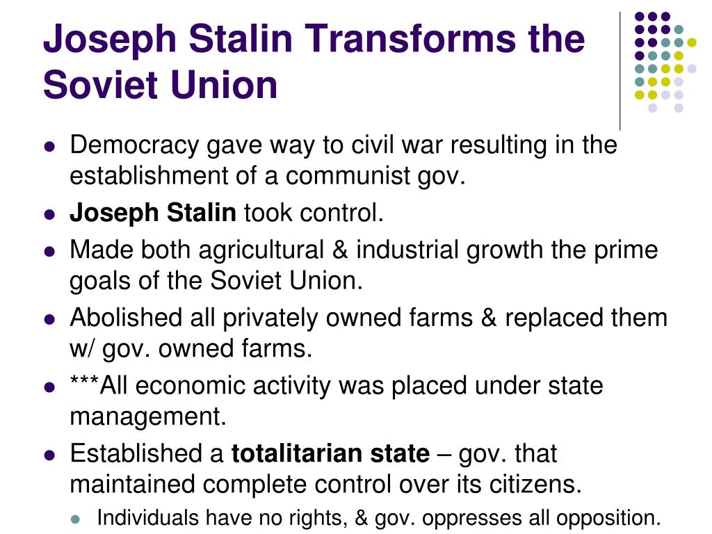 Joseph Stalin Transforms the Soviet Union