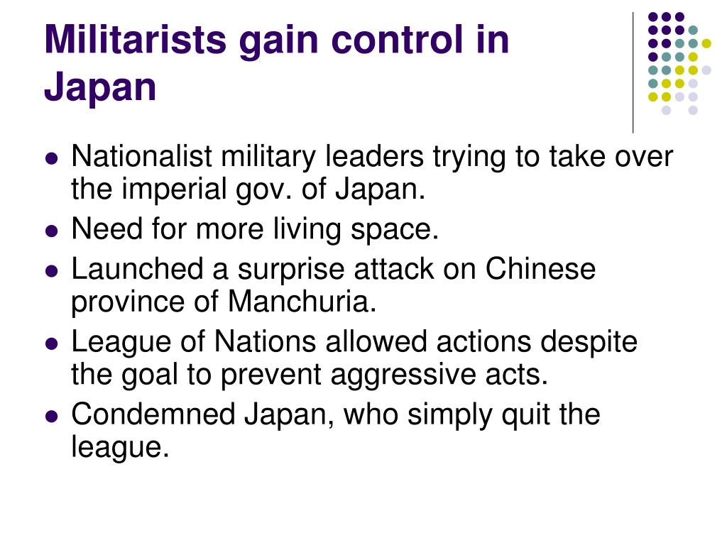Militarists gain control in Japan