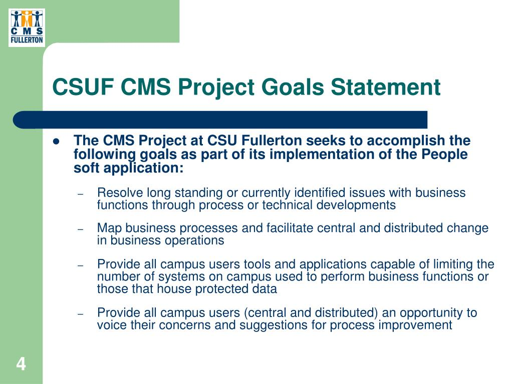 CSUF CMS Project Goals Statement