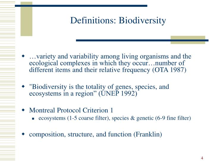 Definitions: Biodiversity