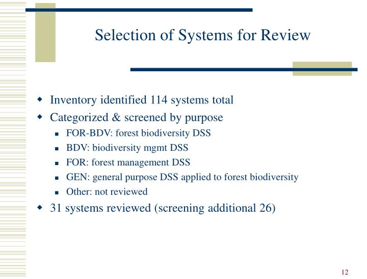 Selection of Systems for Review