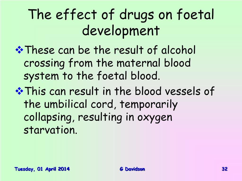 The effect of drugs on foetal development