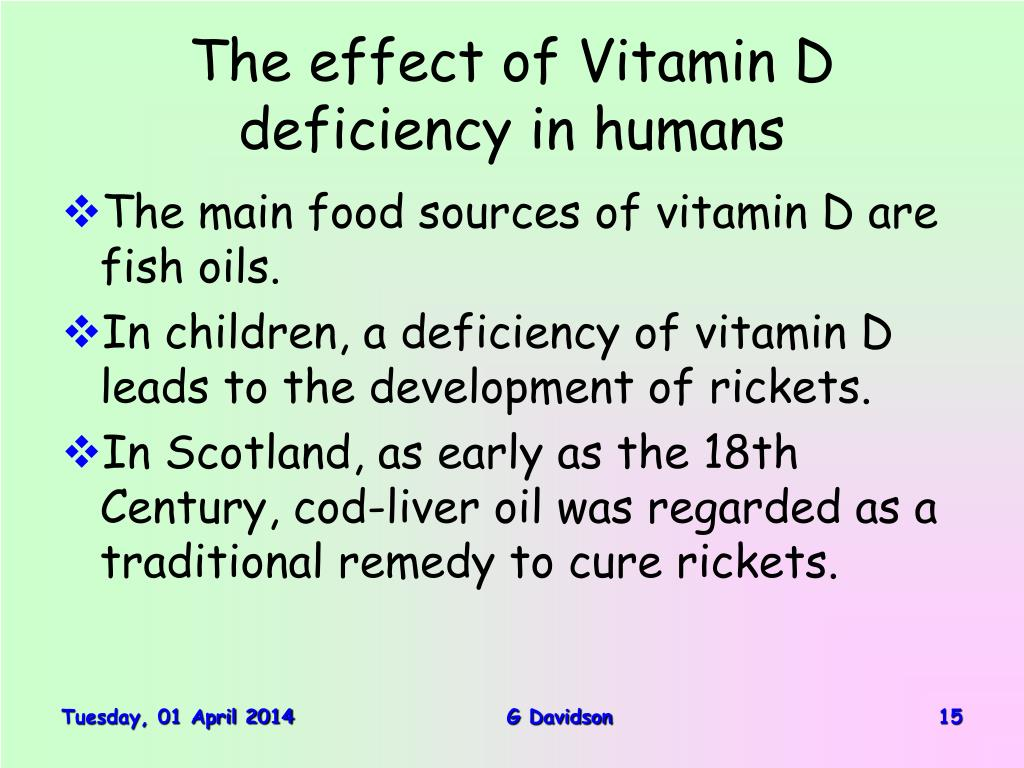 The effect of Vitamin D deficiency in humans