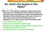 so what s the targets in this teks