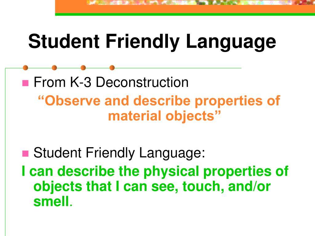Student Friendly Language