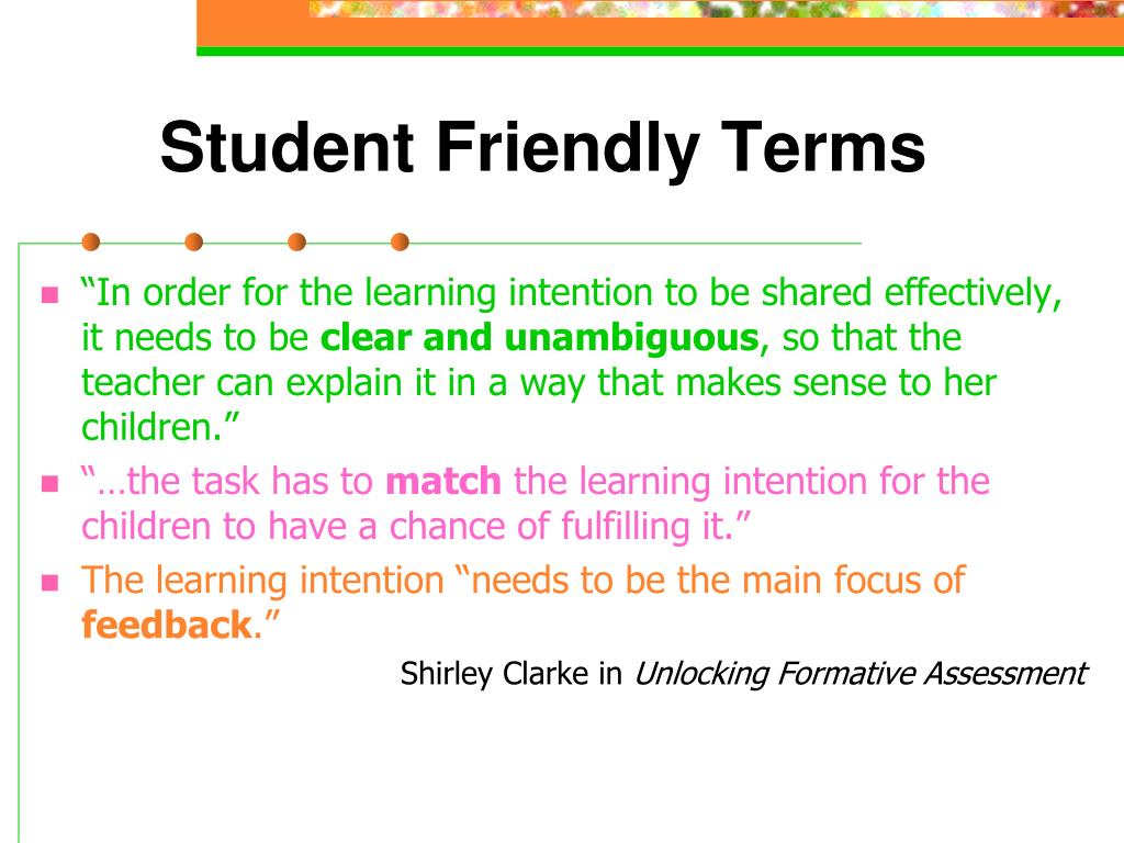 Student Friendly Terms