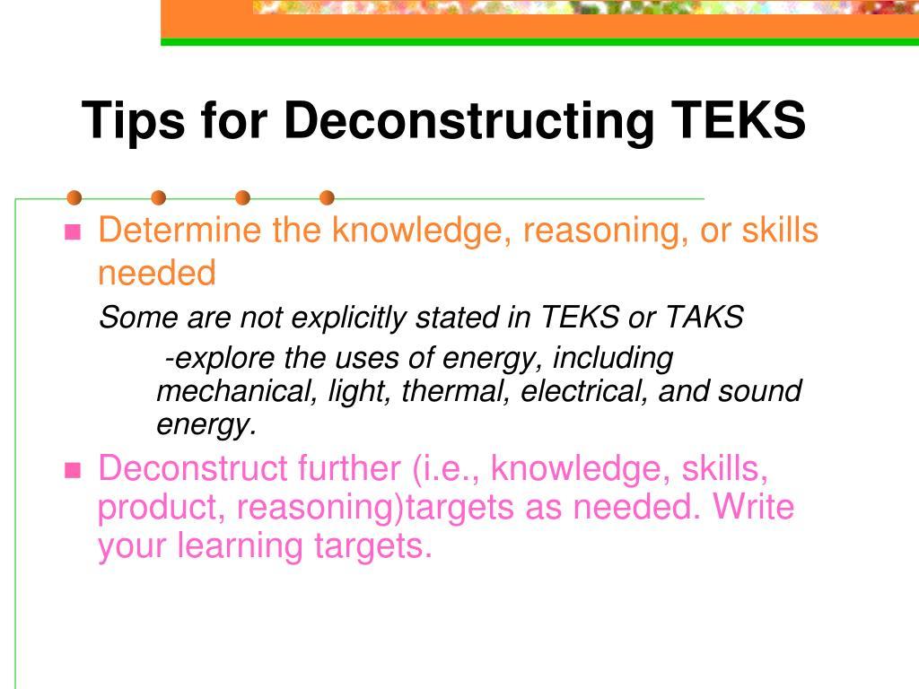 Tips for Deconstructing TEKS