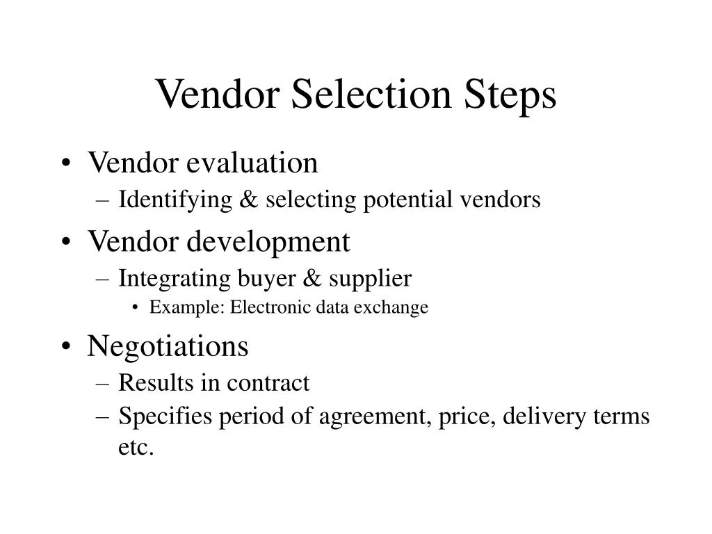 Vendor Selection Steps