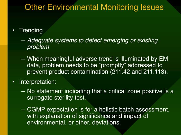 Other Environmental Monitoring Issues
