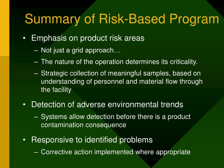 Summary of Risk-Based Program