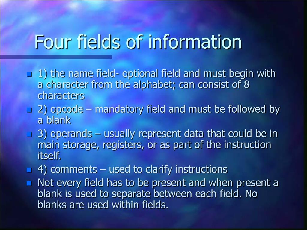 Four fields of information