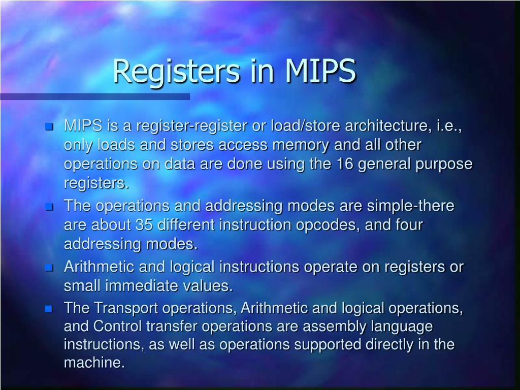 Registers in MIPS