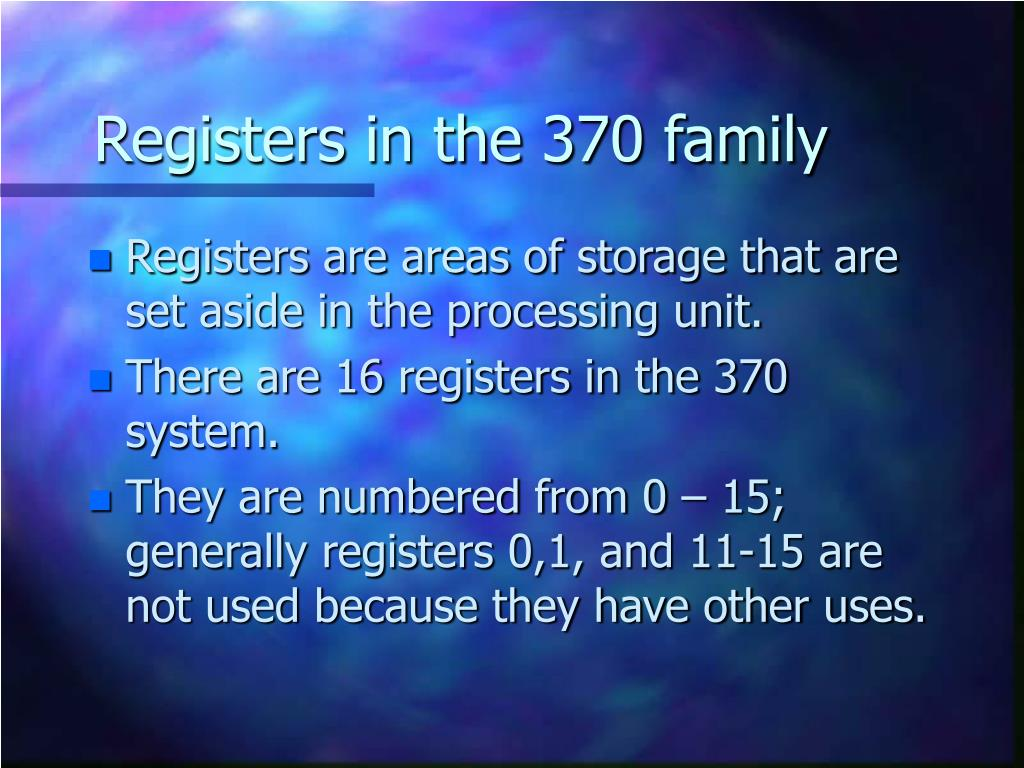 Registers in the 370 family