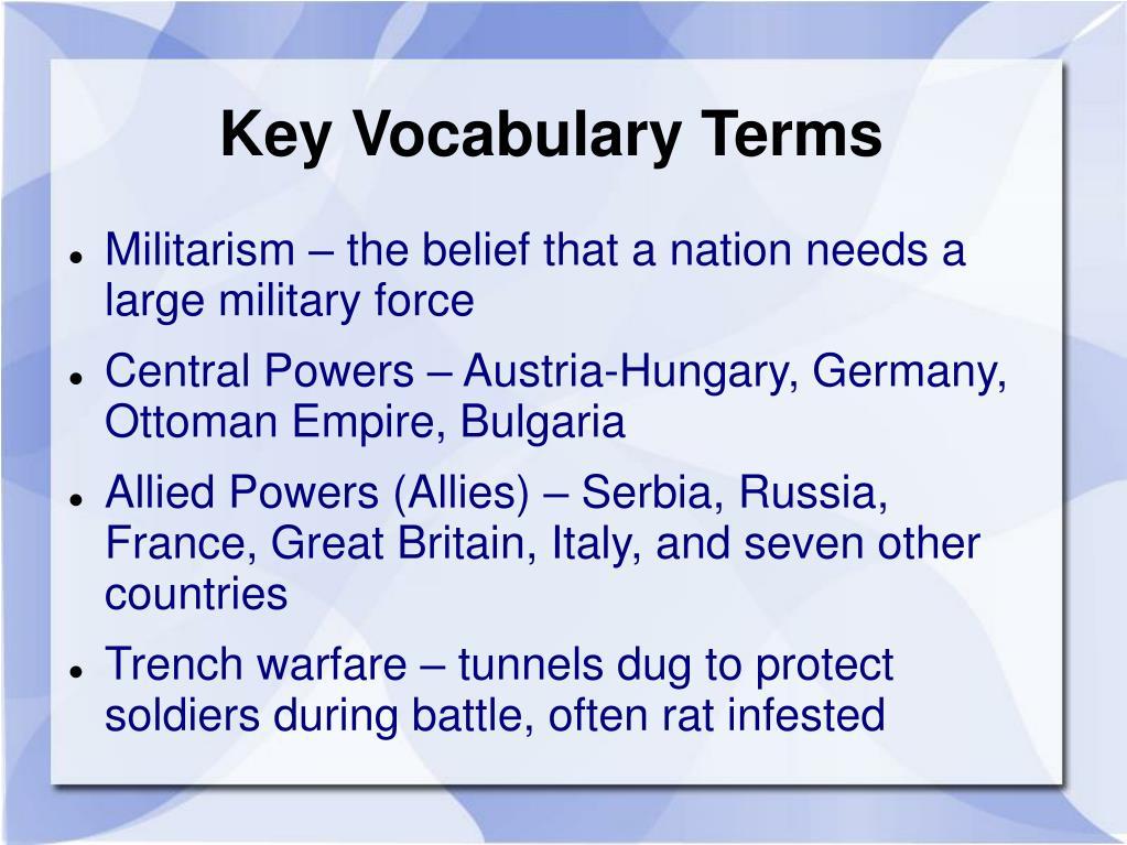 Key Vocabulary Terms