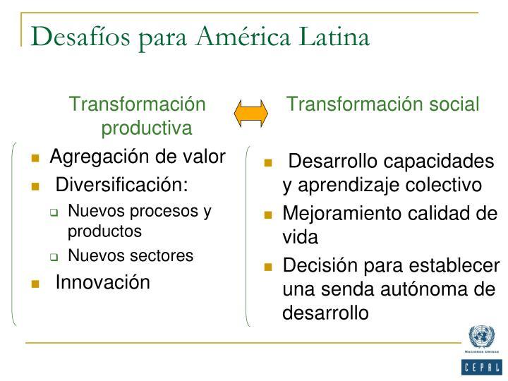 Desafíos para América Latina