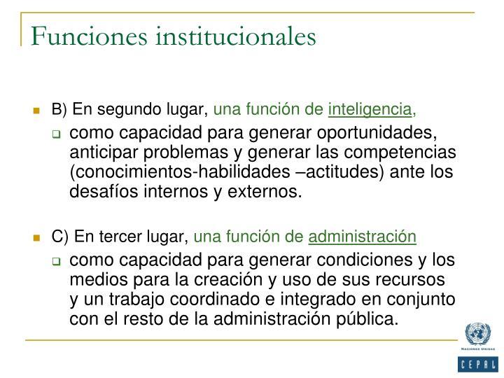 Funciones institucionales