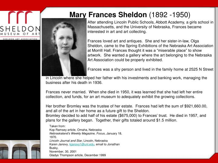 Mary Frances Sheldon