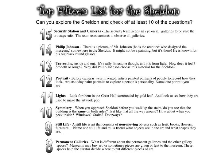 Can you explore the Sheldon and check off at least 10 of the questions?