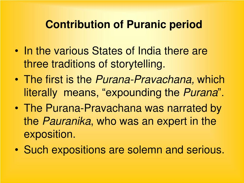 Contribution of Puranic period