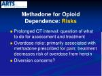 methadone for opioid dependence risks