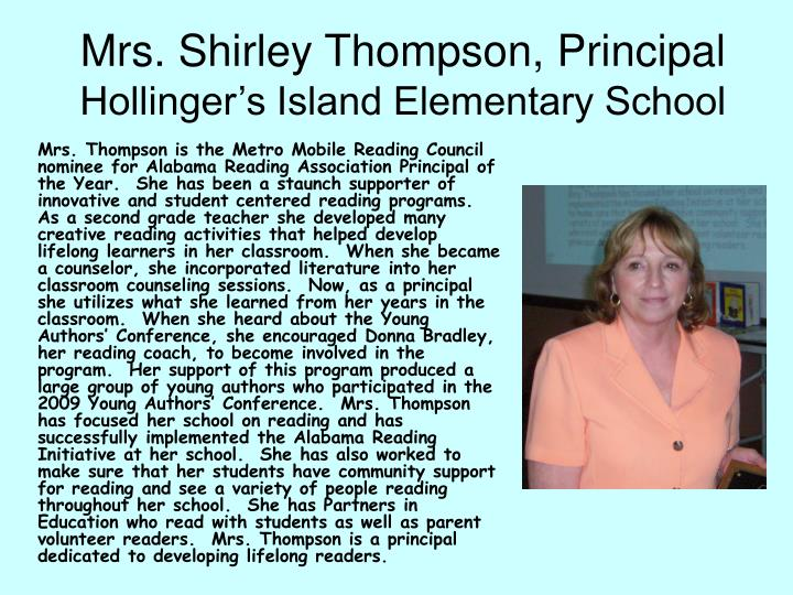 Mrs. Shirley Thompson, Principal