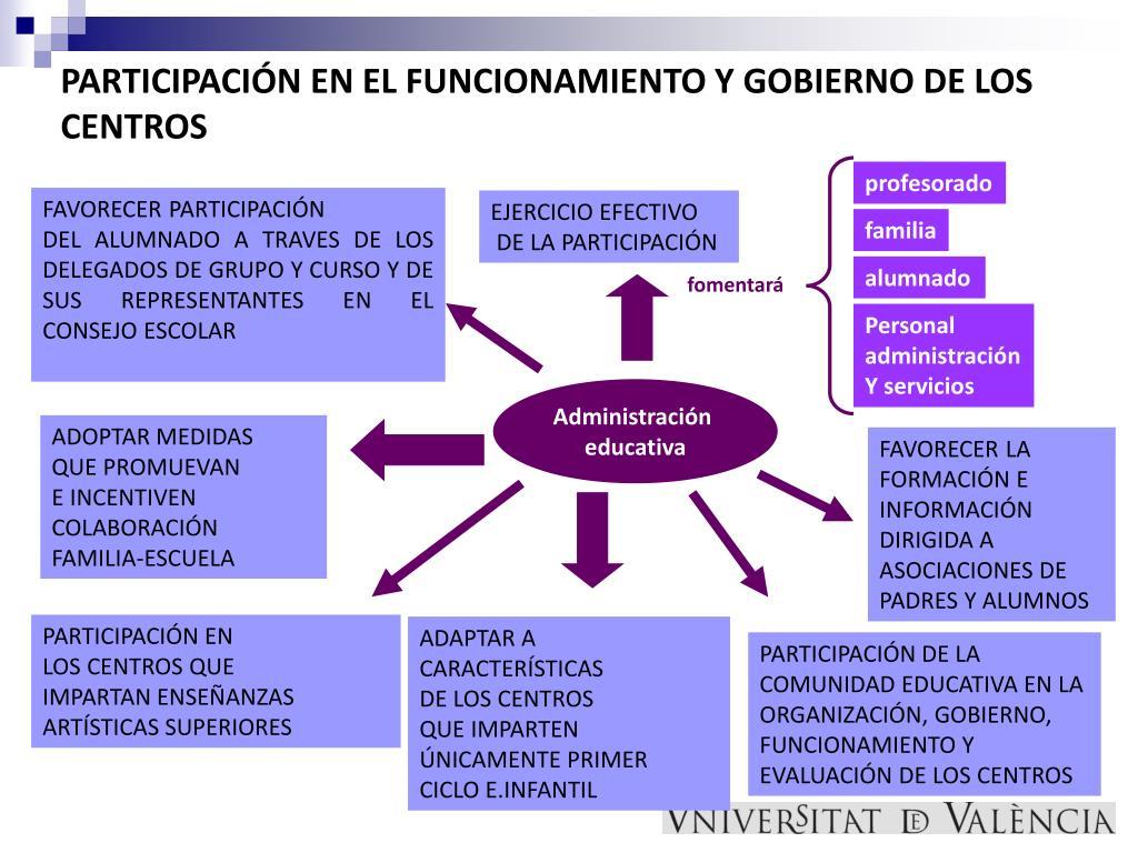 PARTICIPACIÓN EN EL FUNCIONAMIENTO Y GOBIERNO DE LOS CENTROS