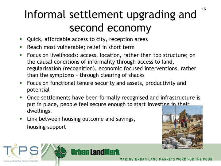 Informal settlement upgrading and second economy