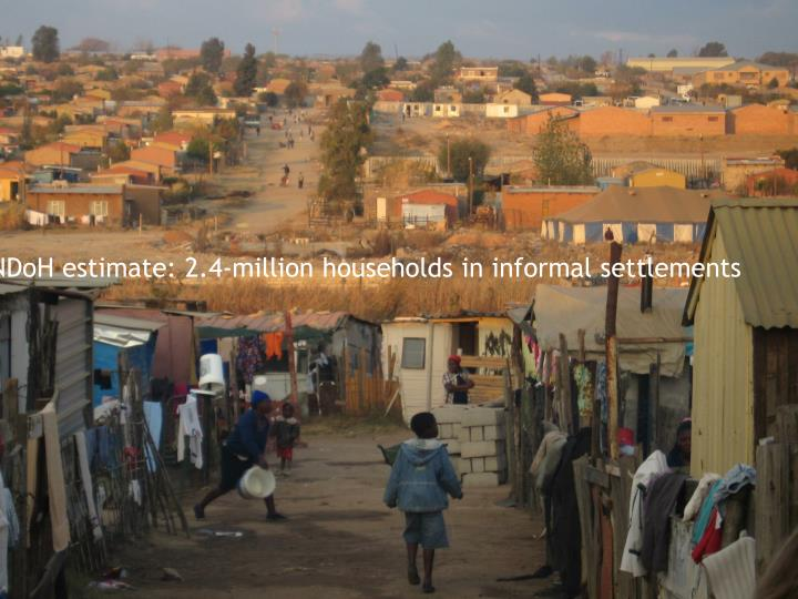 NDoH estimate: 2.4-million households in informal settlements