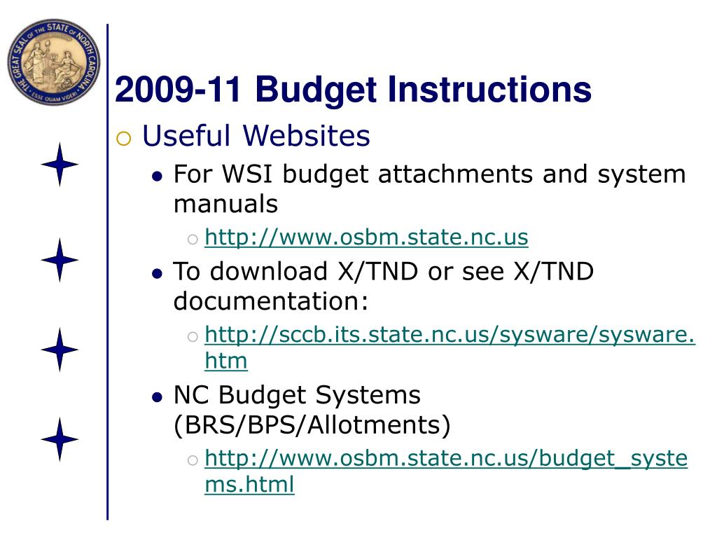 2009-11 Budget Instructions