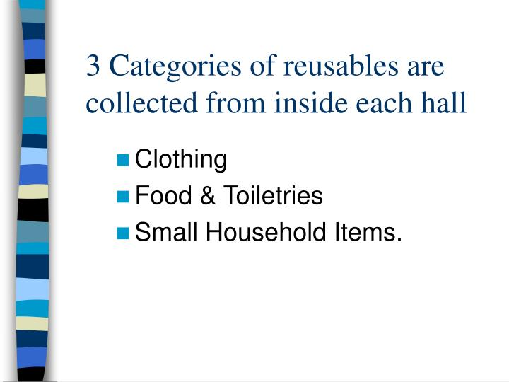3 Categories of reusables are collected from inside each hall