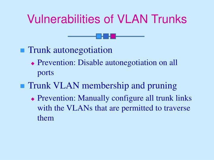 Vulnerabilities of VLAN Trunks