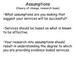 assumptions theory of change research base