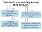 participants appropriately manage child behavior