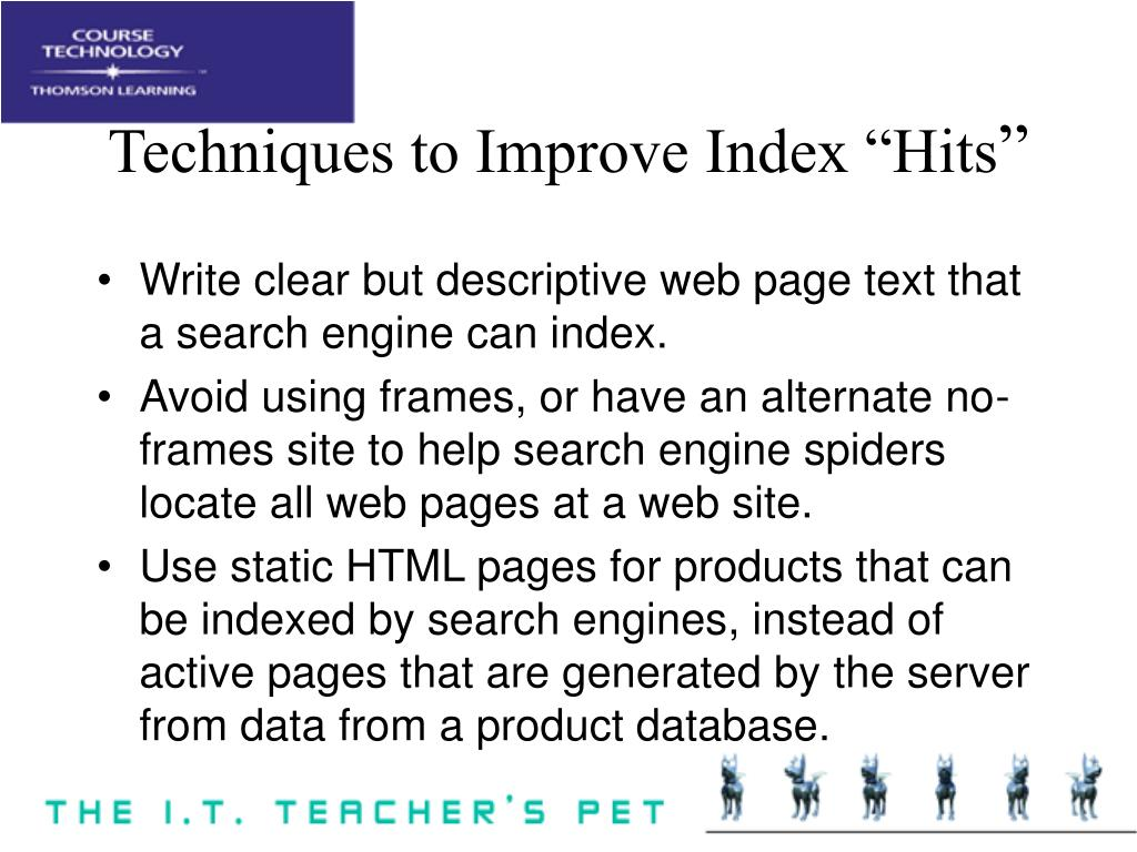 """Techniques to Improve Index """"Hits"""