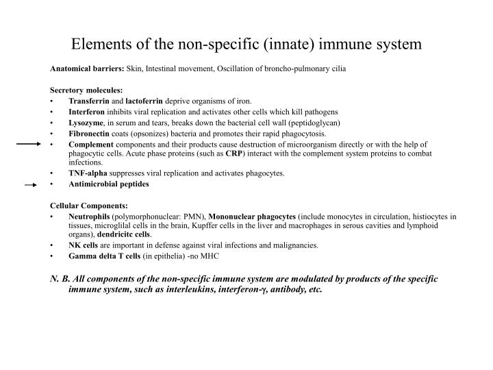 Elements of the non specific innate immune system