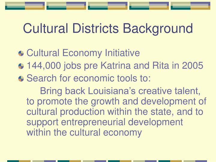 Cultural districts background