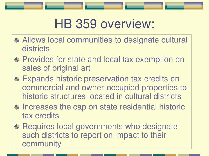 HB 359 overview: