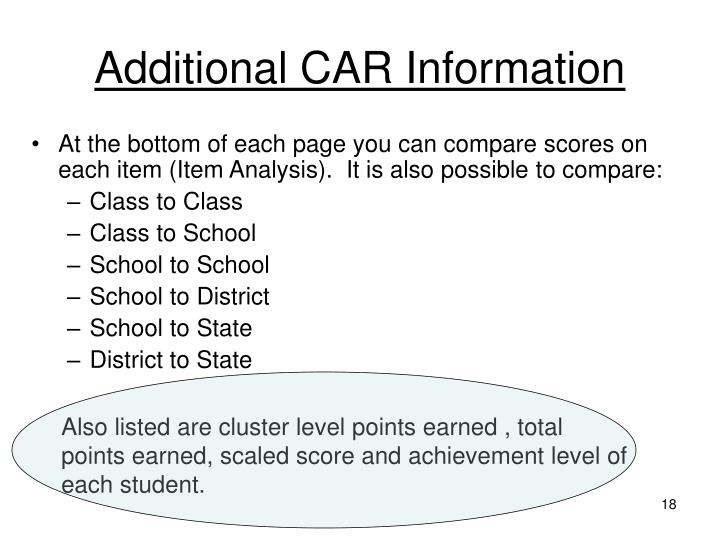 Additional CAR Information