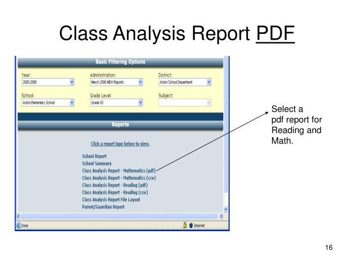 Class Analysis Report