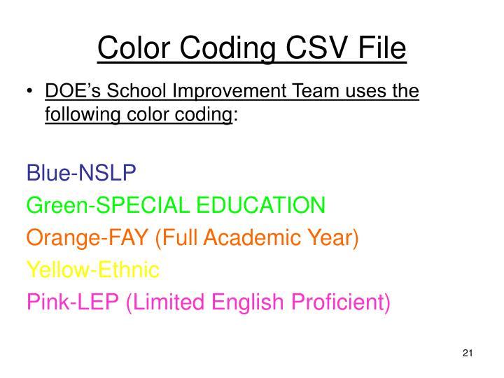 Color Coding CSV File