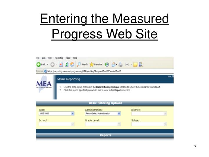Entering the Measured Progress Web Site