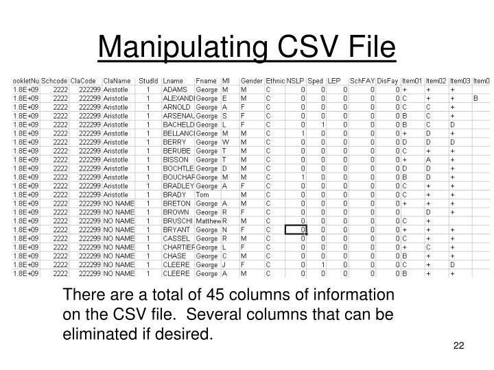 Manipulating CSV File