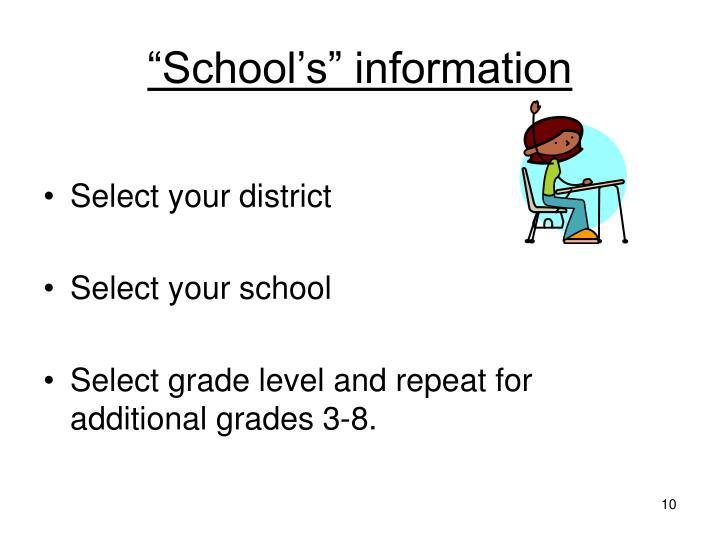"""""""School's"""" information"""